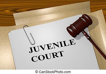 3D illustration of 'JUVENILE COURT' title on Legal Documents. Legal concept.