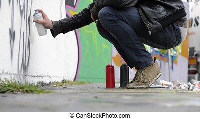 Juvenile Delinquent - Juvenile delinquent, using spray paint...