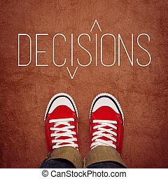 juventude, fazer decisão, conceito, vista superior