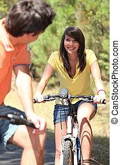 juventude, ligado, bicicleta