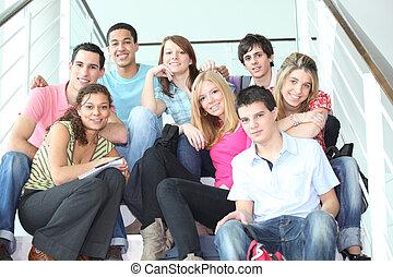 juventude, ligado, escadas