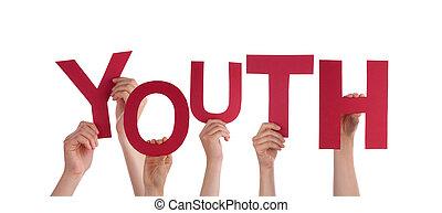 juventude, segurando, pessoas