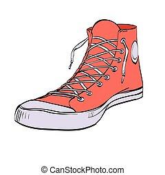 juventude, sneakers, sapatos, vermelho