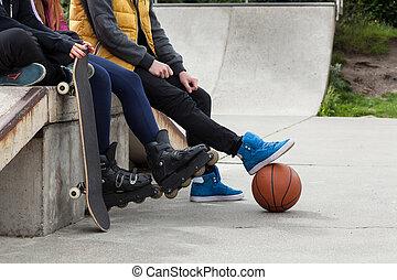 juventude, tempo, spends, livre, skatepark
