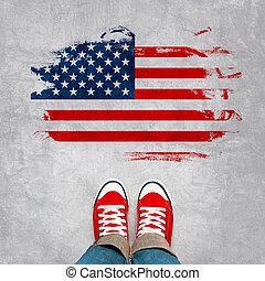 juventude, urbano, americano, conceito