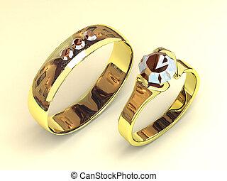 juwelier, handen, ornament, goud, trouwfeest