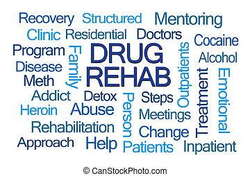 kábítószer, rehab, szó, felhő