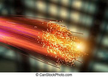 kábel, látási, hálózat, rost
