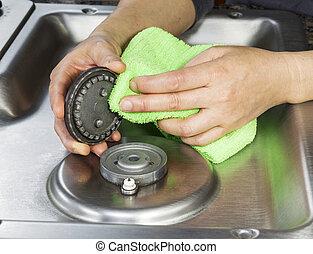 kályha, gáz, tető, takarítás