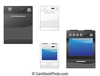 kályha, mosogatógép