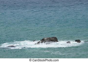 kámen, dále, ta, moře