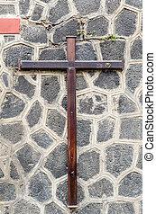 kámen, křesťanský, dřevěný, kříž, šedivý, val