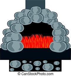 kámen, pec, s, oheň, osamocený, oproti neposkvrněný, grafické pozadí