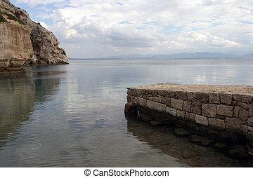 kámen, pilíř, moře, led