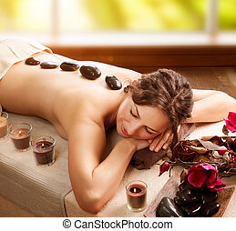 kámen, spa., salon, massage., lázně den