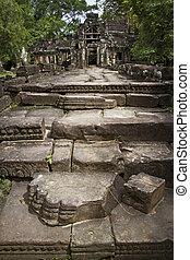 kámen, starobylý, štafle, čelo, wat, chrám, angkor
