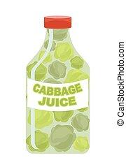 káposzta, juice., lé, alapján, friss, vegetables., káposzta, alatt, egy, áttetsző, bottle., vitamin, ital, helyett, egészséges, eating., vektor, illustration.