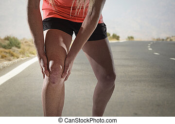 kár, fáj, atlétikai, erős, fiatal, szenvedés, nő, sport, ínszalag, hatalom kezezés, térd, combok