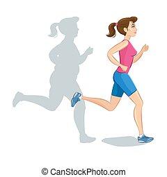 Kár, sportszerű, súly, fiatal, aktivál, kocogás, vektor, nő,...