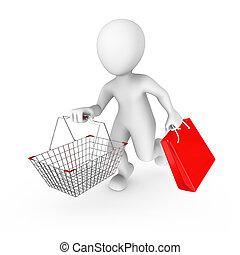 kára, sale., vydat, 3, voják, nakupování, illustration.