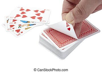 kártyázás, piszkavas, játszik, játék, szabad