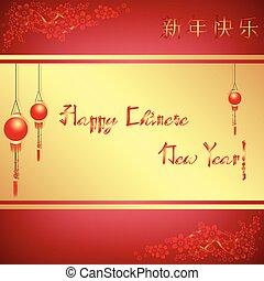 kártya, új, köszönés, kínai, év