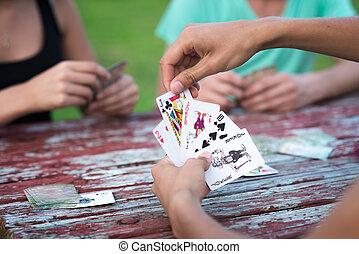 kártya, csoport, játék, emberek