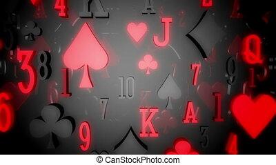 kártya, díszkíséretek, és, számok, ízléses, hazárdjáték,...