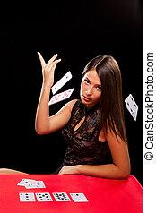 kártya, dob, nő, játék, fiatal