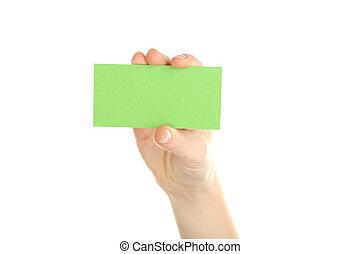 kártya, fehér, birtok, háttér, kéz