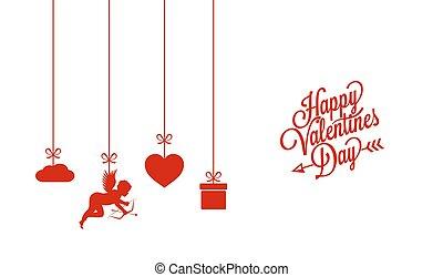 kártya, fehér, valentines nap, háttér