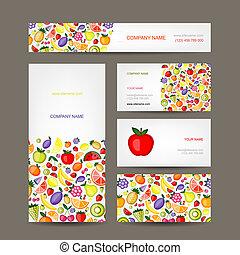 kártya, gyümölcs, ügy, tervezés, háttér