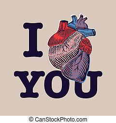 kártya, heart., nap, emberi, valentine's