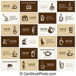 kártya, kávécserje, tervezés, társaság, ügy