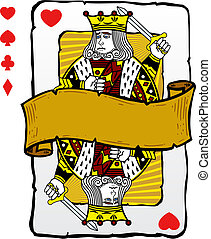 kártya, király, mód, játék, ábra