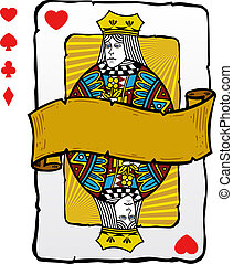 kártya, mód, királyné, játék, ábra
