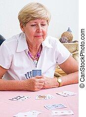 kártya, nő, játék