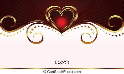 kártya, nap, romantikus, valentine's