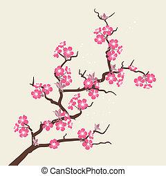 kártya, noha, stilizált, cseresznye virágzik, flowers.