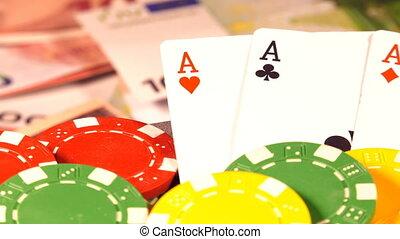 kártya, pénz, piszkavas kicsorbít, hazárdjáték