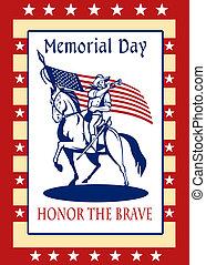 kártya, patrióta, poszter, köszönés, nap, amerikai, emlékmű