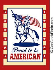 kártya, patrióta, poszter, köszönés, szabadság nap, amerikai