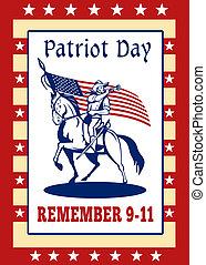 kártya, poszter, patrióta, köszönés, 911, nap, emlékezik, amerikai