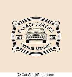 kártya, rendbehozás, illustration., szolgáltatás, jel, autó, szüret, garázs, kéz, vektor, retro, poszter, autó, húzott, etc., autó, hirdetés