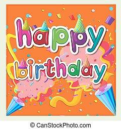 kártya, születésnap, gyeplő, sablon, háttér