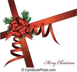kártya, vektor, piros szalag, karácsony