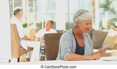 kártya, womens, játék, öregedő