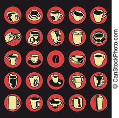 kávécserje, ábra, vektor, bolt