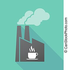 kávécserje, árnyék, gyár, hosszú, csésze