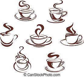 kávécserje, és, tea, csészék